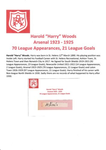 HARRY WOODS ARSENAL 19231925 EXTREMELY RARE ORIGINAL HAND SIGNED CUTTINGCARD