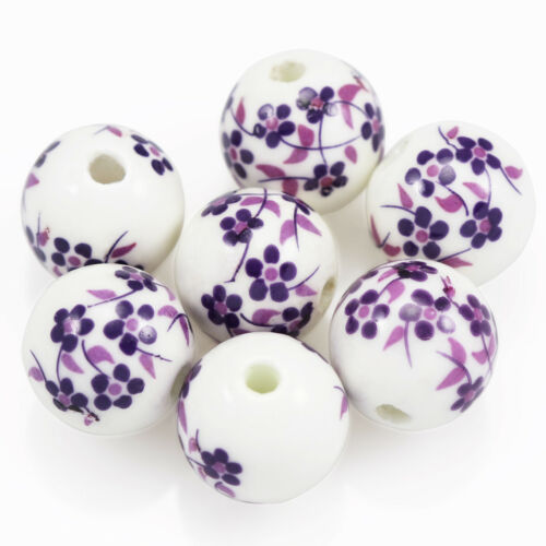 20x Purple White Round  Floral Flower Porcelain Ceramic Beads