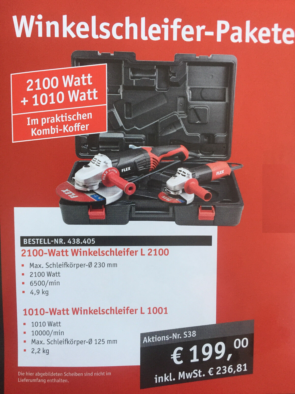 Flex Winkelschleifer Set L2100 230mm 2100W +L1001 125mm In Koffer  438405