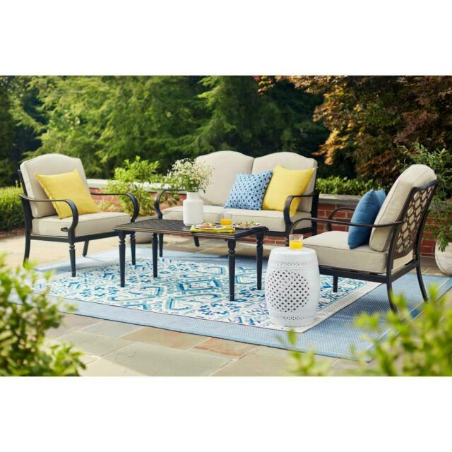 Hampton Bay Patio Conversation Set Polyester Putty Cushions Steel