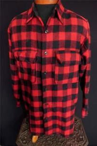 VERY-RARE-HURON-VINTAGE-1930-039-S-1940-039-S-RED-amp-BLACK-PLAID-WOOL-SHIRT-JAC-SZ-LARGE