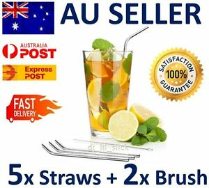 5-x-Stainless-Steel-Metal-Drinking-Straw-Straws-Bent-Reusable-Washable-2-Brushes