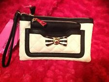 Betsey Johnson Clutch/Wristlet Purse Diamond Bone Black 2 in 1 New NWT New Gold
