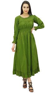 Bimba-Women-Green-Cotton-Smocked-Waist-Long-Maxi-Dress-Boho-Chic-Summer-Dresses