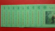 9 Pcs M'sia Zeti RM5 Banknote ( Radar & First Prefix AA8019102-AA8019110 ) - UNC