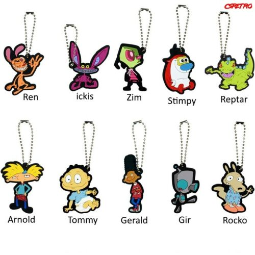More NEW 90s Retro Nickelodeon Rubber Keychain Rugrats Hey Arnold Ren /& Stimpy