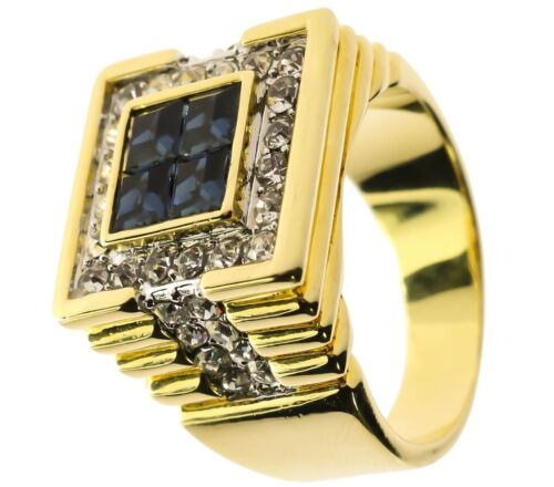 Deep Blue Sea 24 stone Simulated Sapphire men/'s ring 18k gold overlay size 11