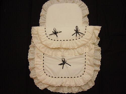 Beautiful  Pram Quilt  and  Pillow  Set  suitable for MOST PRAMS CREAM BLACK