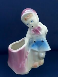 "Vintage 6"" SHAWNEE Art Pottery Boy on Stump Figurine Planter 533 USA Pink Blue"