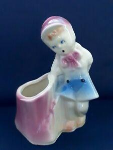 "Vintage 6"" SHAWNEE Art Pottery Boy on Stump Figurine Planter 533 USA Pink Blue"