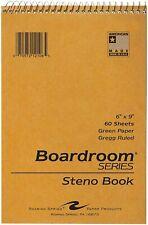 12 X Spiral Steno Notebook 60 Sheet Green Paper Gregg Ruled 6 X 9