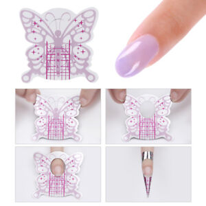 100pcs-Pink-Butterfly-Adhesive-Nail-Forms-for-Gel-Tips-Extension-Tool