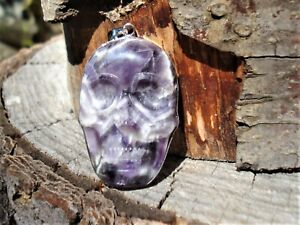 LARGE-CHEVRON-Amethyst-SKULL-Silver-Pendant-RARE-ONE-OF-A-KIND-Knowledge-Power