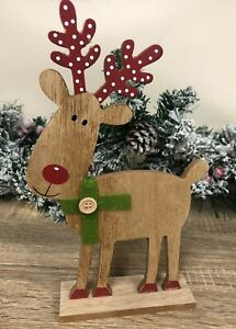 Wood Reindeer Christmas Cute Deer Ornament Red Antlers Green Button Scarf 2826 Ebay