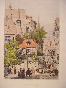 Alemania-A-Street-IN-Cologne-Engraved-Axel-Herman-Haig-1835-1921