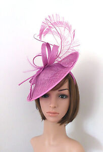 Image is loading Crocus-Pink-Fascinator-was-64-99-Feather-Pearl- 02e95ec69ed