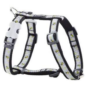 Red-Dingo-Bee-Pattern-BLACK-Harness-for-Dog-or-Puppy-Sizes-XS-LG-FREE-P-amp-P