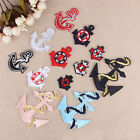 Embroidered Sew Iron On Patches Badge Applique Fabric Bag Cloth Navy Ship Anchor