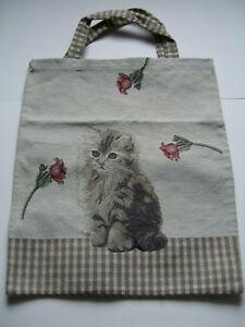 Katzen-Tasche-Kaetzchen-mit-Blume-Gobelin-Einkaufsbeutel-Beutel-Shopper-Tasche