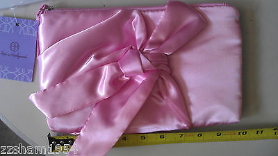 Satin Bow Clutch Hot in Hollywood  Pink  New By HSN One Size