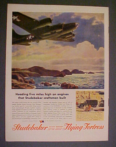 1943 WWII Studebaker Boeing Flying Fortress Aircraft5 Miles FELLANDERArt Ad