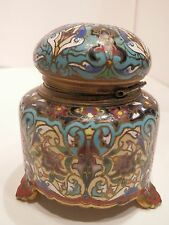 OLD ANTIQUE French BRONZE INKWELL Enamel Cloisonne Champleve Decoration Signed