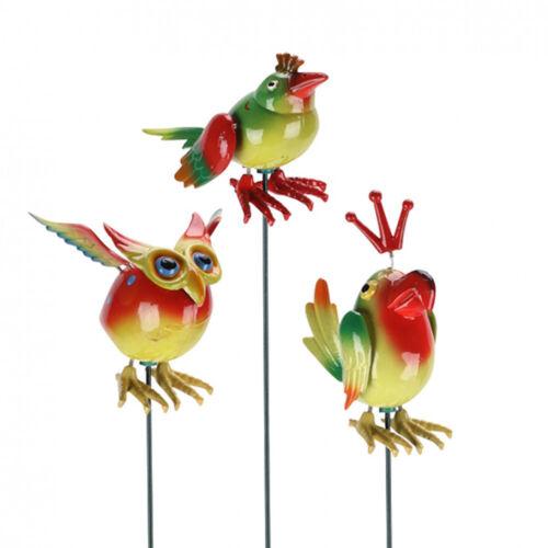 Metall Vogel Beetstecker 3 x Gartenstecker Garten Deko Lustige Vögel
