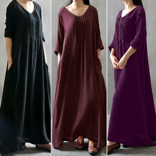 Oversize Femme 100/% coton Manche Longue Col Rond Casual en vrac Robe Dresse