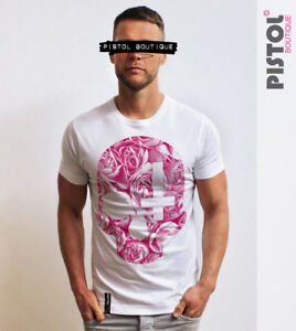 Pistol-Boutique-mens-White-crew-neck-ROSE-SKULL-CROSS-flowers-Tshirt-SALE-Small