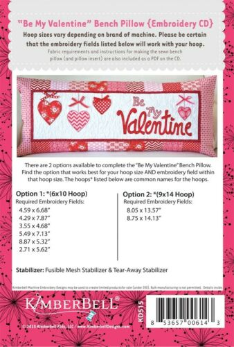 KIMBERBELL BE MY VALENTINE BENCH PILLOW FOR MACHINE EMBROIDERY CD
