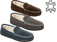MENS GENUINE SUEDE LEATHER MOCCASIN SLIPPERS FUR LINED WINTER LOAFERS SHOES SIZE
