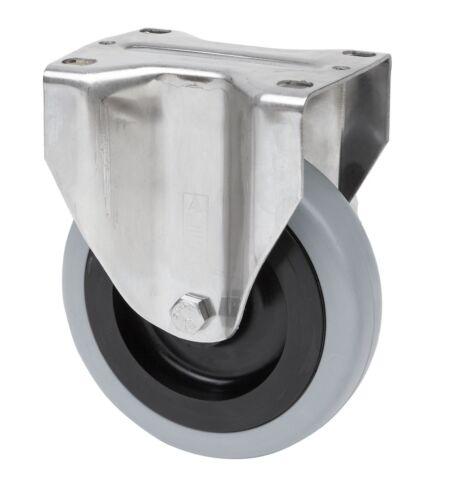 Conjunto de acero inoxidable papel de goma gris 100 mm placa Bock lenkrolle con freno Inox v2a