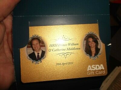 Rare Collectable William Catherine 2011 Asda Gift Card In Original Wallet Ebay