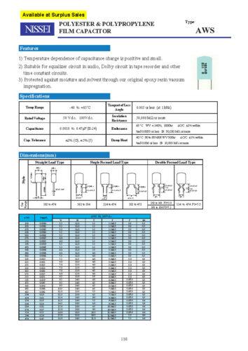 100V 2/%  Film Capacitor NISSEI AWS 2200P NOS For Audio 2200pF 2.2nF 10pcs