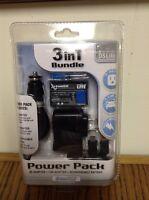 Sealed Nintendo Ds Lite Power Pak 3 In 1 Bundle Black Li-ion Battery 2 Charg