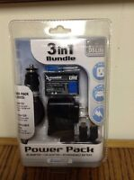 Sealed Nintendo Ds Lite Power Pak 3 In 1 Bundle Black Li-ion Battery 2 Charg