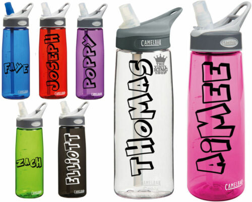Drinks Bottle Gym Bike Water Crash Font Sports 2 x Personalised Name Stickers