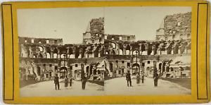 Stéréo, Italie, Rome, interno del coliseo Vintage stereo card,  Tirage albumin