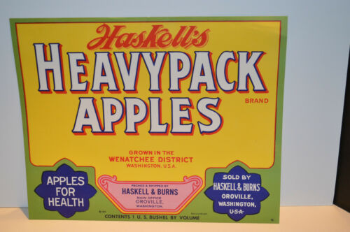 Look! Vintage Haskell/'s Heavy Pack Apples Crate Label 1940/'s Washington