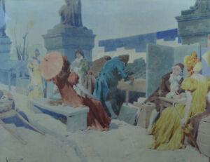 Grande-aquarelle-Quais-Seine-Bouquiniste-marchand-estampe-Paris-sv-Jules-Cheret