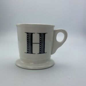 Anthropologie Letter H Initial Coffee Mug White Black Retro Shaving Cup Monogram