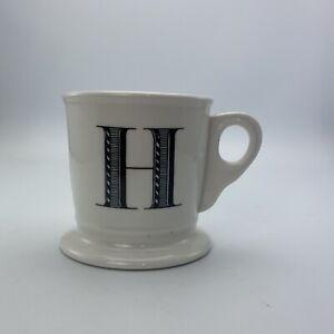 Anthropologie Letter H Initial Coffee Mug White Black Retro Shaving Cup Monogram