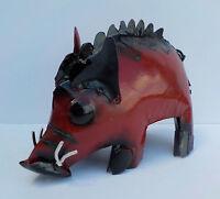 Yard Art Metal Razorback Pig Sculpture Figure 8 Animal Figure Arkansas