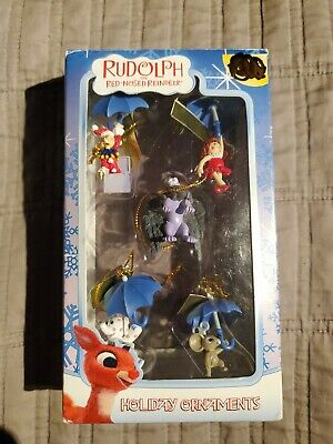 ENESCO RUDOLPH THE RED-NOSED REINDEER MINI HOLIDAY ORNAMENTS 5PC SET NEW IN BOX