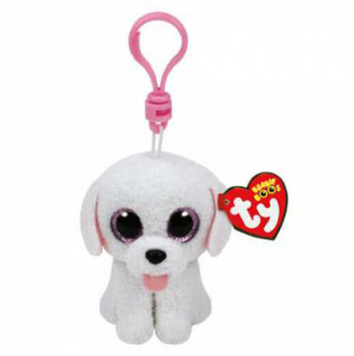 TY Beanie Boos 3 PIPPIE White Poodle Dog Key Clip Plush MWMT's w/ Heart Tags