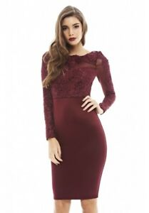 13e3026b46 AX-Paris-Womens-Wine-Red-Bodycon-Midi-Dress-