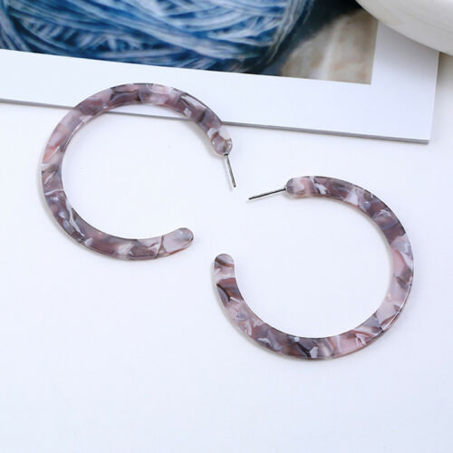 Women Acrylic Circle Hoop Earrings Geometric Leopard Print Jewelry Drop EarrETP