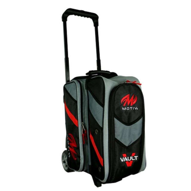 Motiv Vault 2 Ball Deluxe Roller Bowling Bag With 5 Inch Urethane Wheels Black