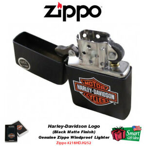 Zippo Harley-Davidso<wbr/>n Logo Lighter, Black Matte Finish H-D Genuine #218HD.H252