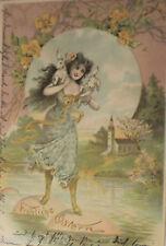 """""""Ostern, Frauen, Hasen, Ostereier, See, Balancieren"""" 1900, Prägekarte ♥ (3987)"""